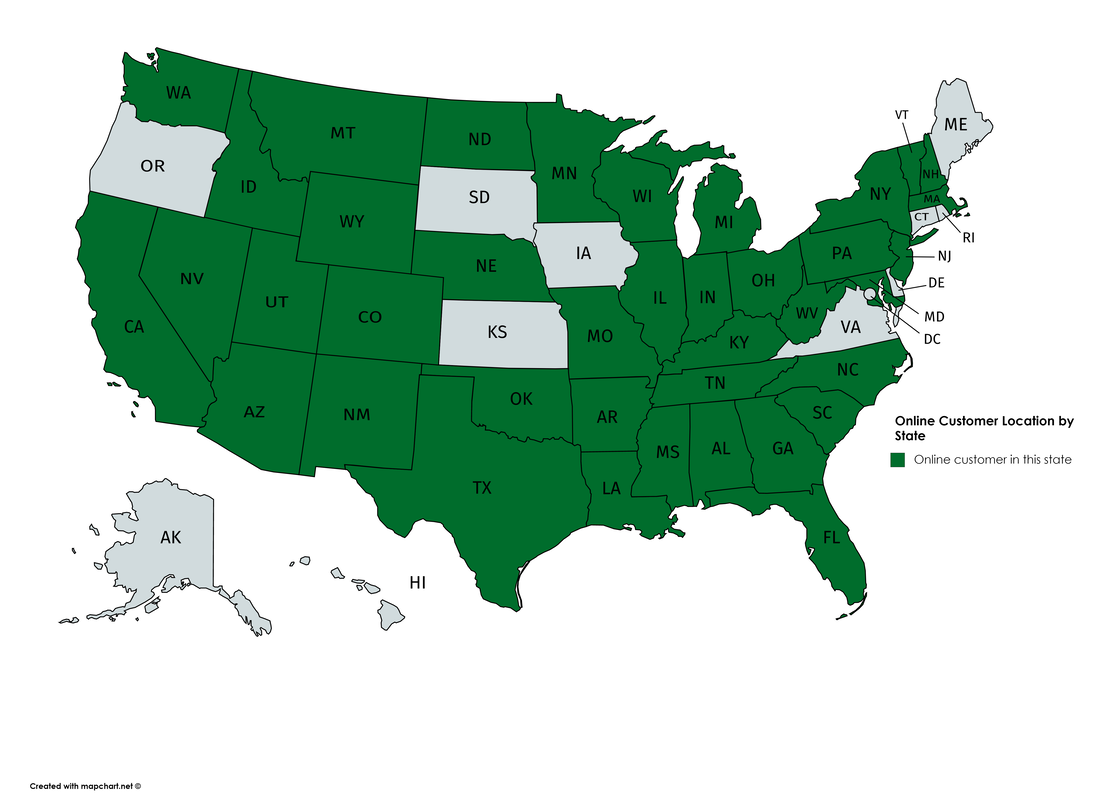 U.S. map of where our online safety training customers are located